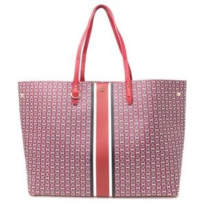 Tory Burch Gemini Link Large Leather Tote Redstone